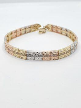 צמיד זהב 14 קראט 3 צבעים חריטות קולקציה חדשה דגם טריו