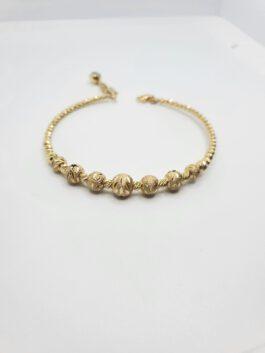 צמיד זהב כדורים 14 קראט קשיח חריטות לייזר מהמם  gbk102