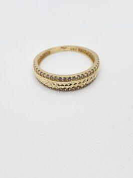 """טבעת זהב  14 קראט חריטות לייזר דגם """"נויה """" gr222"""