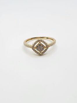 """טבעת זהב  14 קראט  משובצת יהלונים או זרקונים דגם """"ELIAN"""" gr232"""