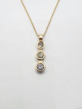 תליון יהלומים משובץ 1 קראט  זהב צהוב 14 קראט  triodiamond