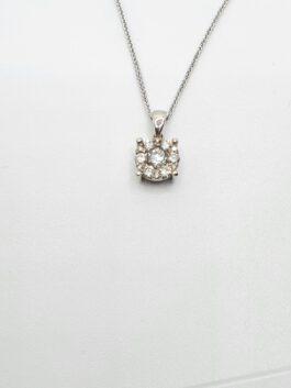 שרשרת תליון יהלום זהב לבן משובצת יהלומים דרגת ניקיון vs td121