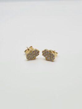 עגילי זהב 14 קראט בצורת חמסה משובצים זרקונים  eg123