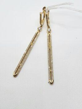 עגילי יהלומים 0.45 קראט זהב 14 קראט ארוכים קולקציה  toti