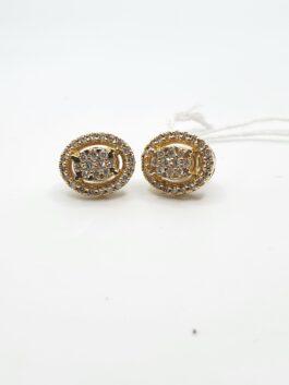 עגילי הלום 14 קראט משובץ 0.43 יהלומים  דגם monte