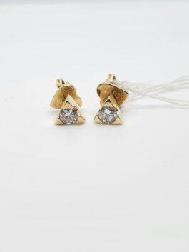 עגילי יהלומים צמודים קלאסיים 0.36 קראט זהב צהוב 14 קראט  ed140