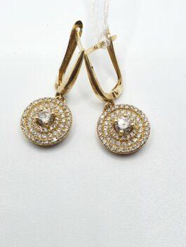 עגיל זהב 14 קראט משובץ 1.1 קראט יהלומים איכותיים  דגם dreams