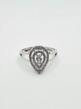טבעת זהב 14 קראט  לבן טיפה קולקציה חדשה דגם gr172