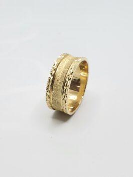טבעת נישואין זהב צהוב 14 קראט התזת חול gre128