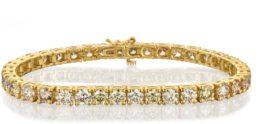צמיד טניס 14 קראט  יהלומים צהוב  דגם שיניים  td104
