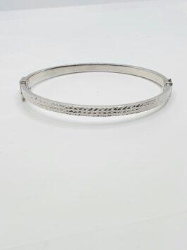 צמיד זהב לבן 14 קראט קשיח נפתח חריטות gbk310