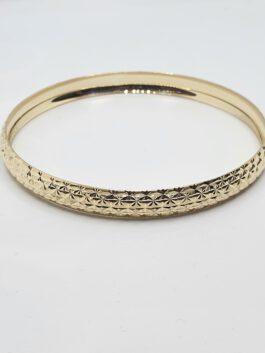 צמיד זהב 14 קראט קשיח צהוב החריטה החדשה gbk319