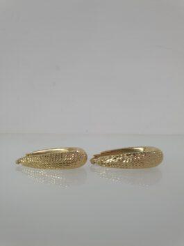 עגילי זהב 14 קראט בשילוב חריטות לייזר  ge187